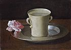 Francisco de Zurbarán - Cup of Water and a Rose on a Silver Plate - WGA26060