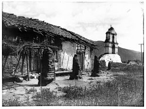 General view of Mission Asistencia of San Antonio at Pala, California, showing the chapel and bell tower from the north, ca.1903 (CHS-731)