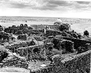 Ruins of Tughlaqabad Fort with Ghiyas-ud-din's tomb in the background 1949