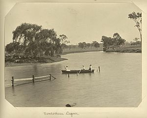 StateLibQld 2 232906 Rowing on Tamrookum Lagoon in the Beaudesert Shire