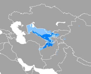 A map, showing that Uzbek is spoken throughout Uzbekistan, except the western third (where Karakalpak dominates) and northern Afghanistan