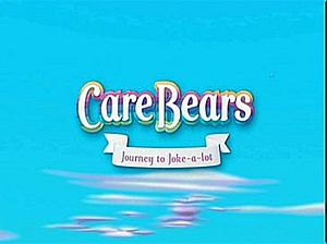 "The film's title logo appears against a blue sky with some white clouds. The words ""Care Bears"" are stacked above the subtitle, ""Journey to Joke-a-lot""."