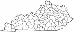 Location of Barbourville, Kentucky