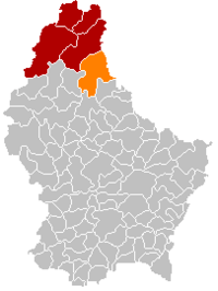 Map of Luxembourg with Parc Hosingen highlighted in orange, and the canton in dark red