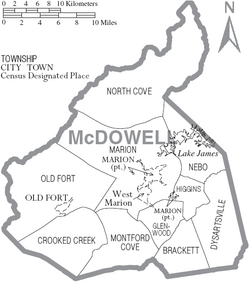 Map of McDowell County North Carolina With Municipal and Township Labels