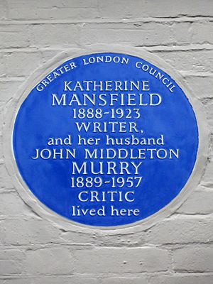 Katherine Mansfield 1888-1923 Writer and her husband John Middleton Murry 1889-1957 Critic lived here