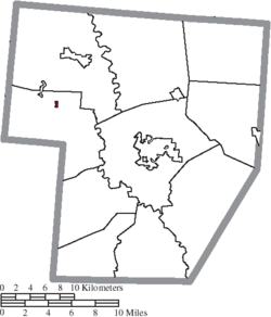 Location of Milledgeville in Fayette County