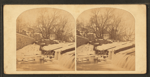 A mill-dam, Frankford Creek, (Pa.) Scornful of a check, it leaps the mill-dam and wantons in the pelby gulf below, from Robert N. Dennis collection of stereoscopic views