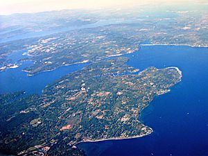Aerial view of Bainbridge Island and Agate Passage in Olympic Peninsula