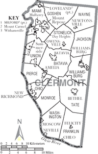 Map of Clermont County Ohio With Municipal and Township Labels