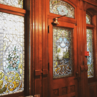 Stained Glass Side Door of the 1890 House