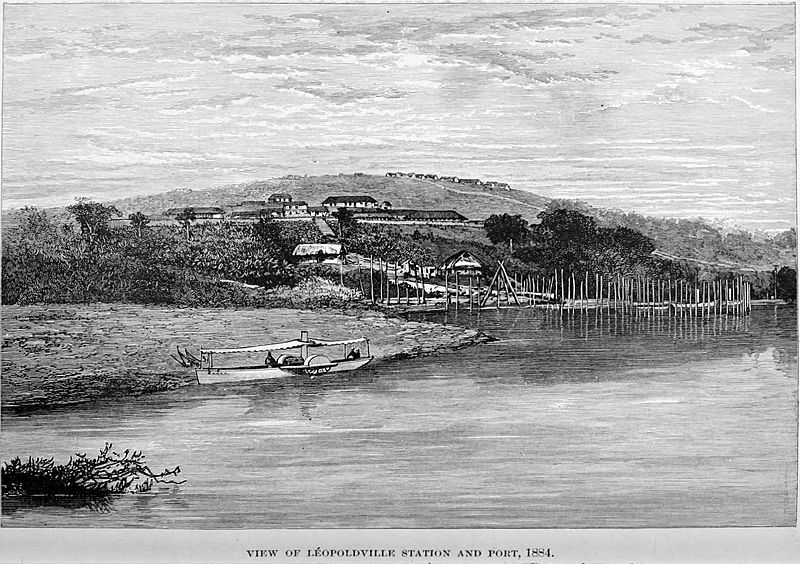 Stanley Founding of Congo Free State 186 View of Leopoldville Station and Port 1884 The Baptist Mission on the summit of Leopold Hill