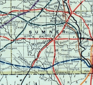 Stouffer's Railroad Map of Kansas 1915-1918 Sumner County