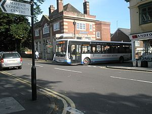 Bus emerging from Beaumont Road into Sandford Avenue - geograph.org.uk - 1449239