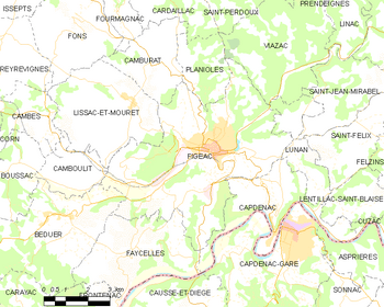 Map of the commune of Figeac
