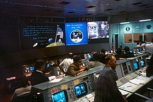 Mission Operations Control Room at the conclusion of Apollo 11