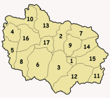 Numbered map of Adjuntas wards