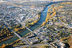 Aerial view of Downtown Red Deer