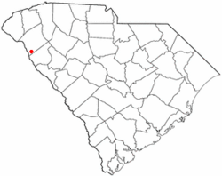 Location of Iva, South Carolina