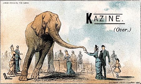 Advertising card for Kazine featuring Jumbo reaching for candy