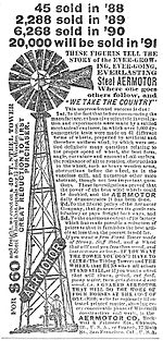 Aermotor Windmill Company ad 6,268 sold in 1890