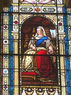 Queen Victoria on stained glass window in Parliament House, Brisbane, Queensland