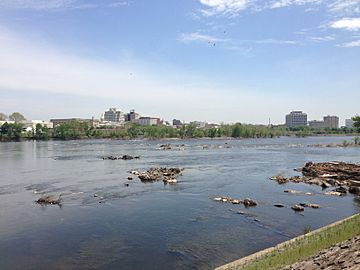 "2014-05-12 12 17 50 View of the ""Falls of the Delaware"" and downtown Trenton, New Jersey from Morrisville, Pennsylvania"
