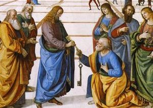 Christ Handing the Keys to St. Peter by Pietro Perugino (crop)
