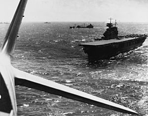 USS Yorktown (CV-5) during the Battle of the Coral Sea, April 1942