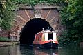 Canal boat and tunnel under Muriel Street, London