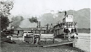 Paddlewheelers at Chilliwack Landing near the present day end of Wellington Street
