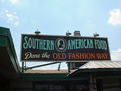"""Southern cuisine"" is recognized by many Americans as suggested by this sign on a restaurant in the Florida Panhandle"