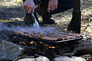 Cooking snags over campfire
