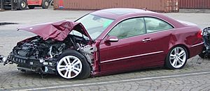 Crashed Mercedes-Benz Coupe