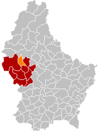Map of Luxembourg with Wahl highlighted in orange, and the canton in dark red