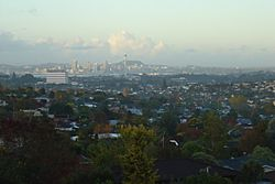 A southern part of North Shore viewed from Forrest Hill, with central Auckland in the background