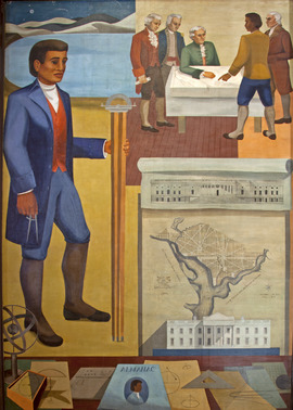 """Benjamin Banneker- Surveyor-Inventor-Astronomer,"" mural by Maxime Seelbinder, at the Recorder of Deeds building, built in 1943. 515 D St., NW, Washington, D.C LCCN2010641717"