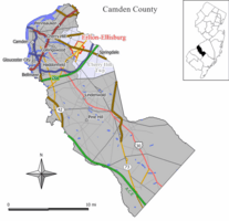 Map of Erlton-Ellisburg CDP in Camden County. Inset: Location of Camden County in New Jersey.