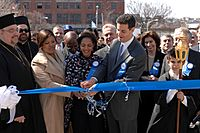 Sarbanes and Dixon cutting ribbon at 2007 Baltimore Greek Independence Day Parade