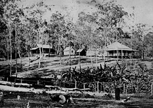 StateLibQld 1 116732 Early view of Rainworth homestead and outbuildings, Torwood, ca. 1875