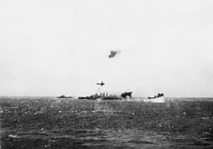 TG17.3 and HMAS Australia under attack Coral Sea