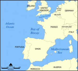 Map of the Bay of Biscay.