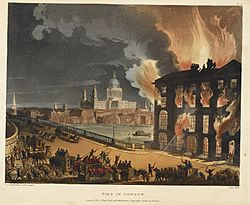 Fire at Albion Mill - Microcosm of London (1808-1811), 35 - BL