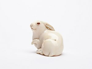 Ivory netsuke of the Hare with Amber Eyes 2