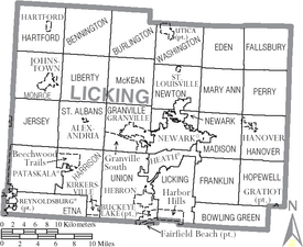 Map of Licking County Ohio With Municipal and Township Labels