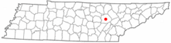Location of Crossville, Tennessee