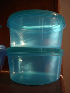 Tupperware translucent blue