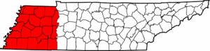 Map of West Tennessee counties