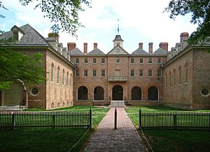 Rear view of the Wren Building, College of William & Mary in Williamsburg, Virginia, USA (2008-04-23)
