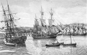 A painting of 18th Century ships on the River Torridge